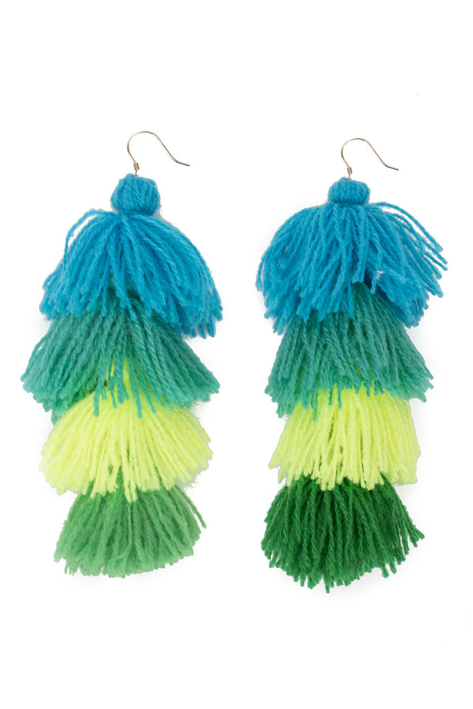 Turqs and Caicos Ombre Tassel Earrings - 4 tier