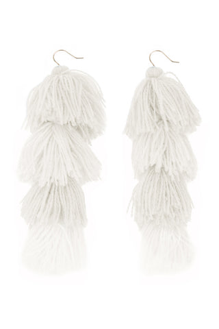 Carlotta White Tassel Earrings - MISA Los Angeles