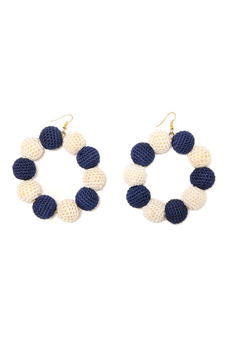 Crochet Dots Navy & White Earrings - MISA Los Angeles
