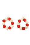 Crochet Dots Red & White Earrings - MISA Los Angeles