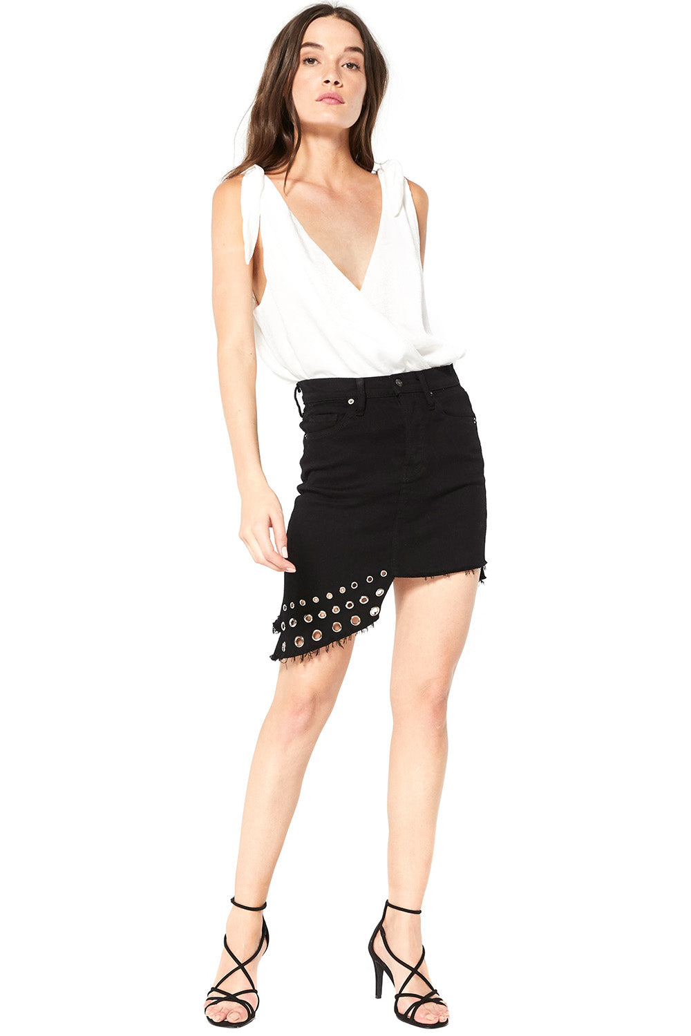 Superstar Asymmetrical Denim Mini-Skirt