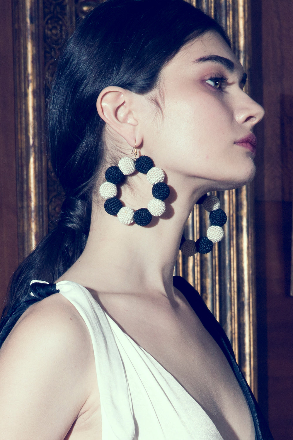Crochet Dots Black & White Earrings