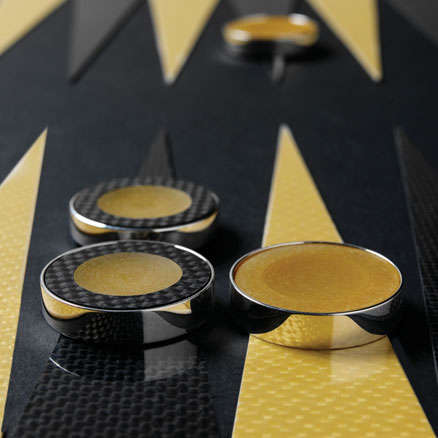 Carbon fiber F1 backgammon set