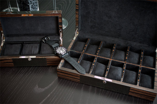 Carbon fiber and macassar watch cases