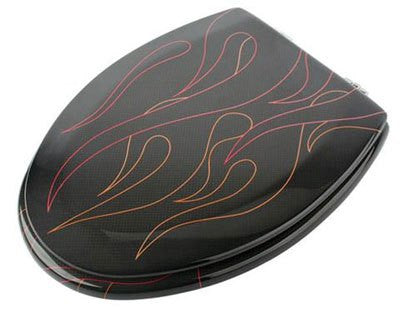 Carbon fiber toilet seat cover with pinstripe flames