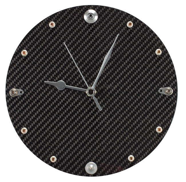 Carbon fiber clock with Formula 1 bits