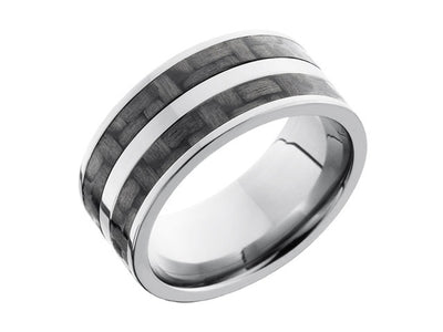 Carbon Fiber Ring and Wedding Band - 10mm Titanium Ring with 2 Strips of 3mm Real Carbon Fiber Inlay