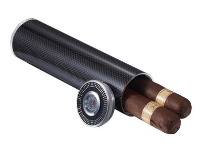 2-Cigar Carbon Fiber Travel Humidor, open with cigars