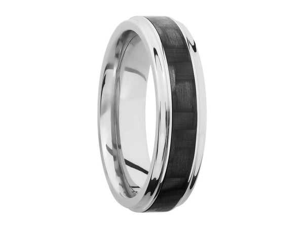 Carbon Fiber Ring and Wedding Band - 6mm Titanium Grooved Edge Ring With 3mm Real Carbon Fiber Inlay