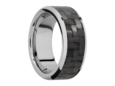 9mm Titanium Ring With 7mm Real Carbon Fiber Inlay - front