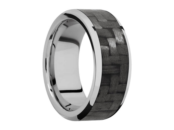 Carbon Fiber Ring and Wedding Band - 9mm Titanium Ring With 7mm Real Carbon Fiber Inlay