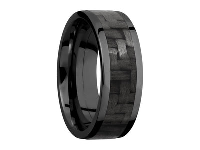 8mm Black Zirconium Ring With 5mm Real Carbon Fiber Inlay