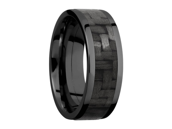 Carbon Fiber Ring and Wedding Band - 8mm Black Zirconium Ring With 5mm Real Carbon Fiber Inlay