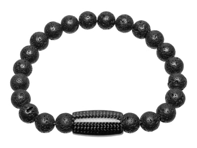 Beaded bracelet made with carbon fiber and lava rock beads