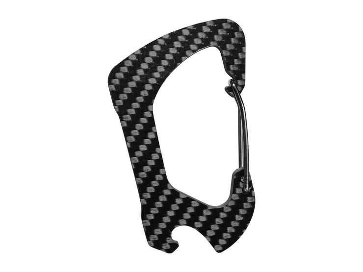 Carbon fiber carabiner with bottle opener