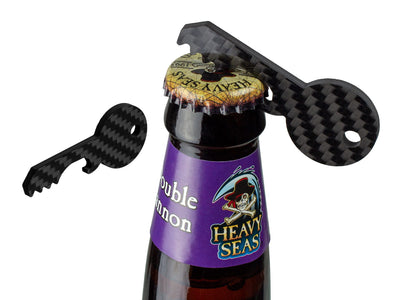 Carbon Fiber Key Bottle Opener opening a beer