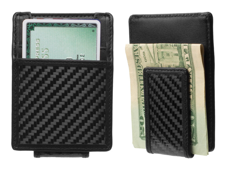 Carbon Fiber & Leather Money Clip Wallet