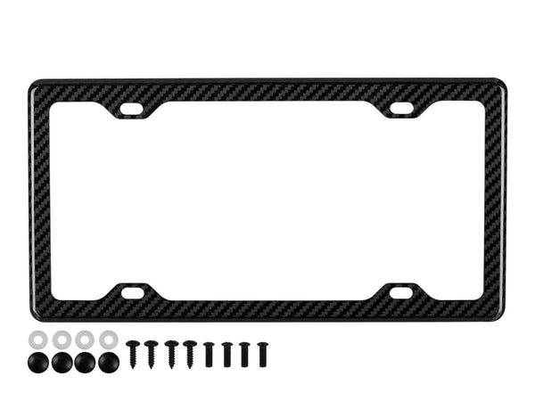 Real carbon fiber license plate frame with 4 holes, twill weave, high gloss and black mounting hardware