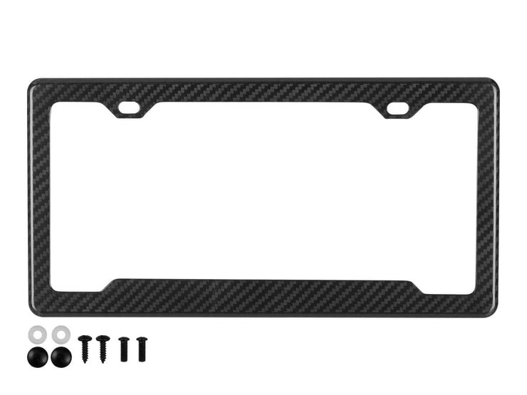 Real carbon fiber license plate frame with 2 holes, angled bottom cutout for stickers and black mounting hardware