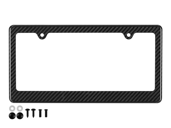 Real carbon fiber license plate frame with 2 holes on top, hidden bottom and black mounting hardware