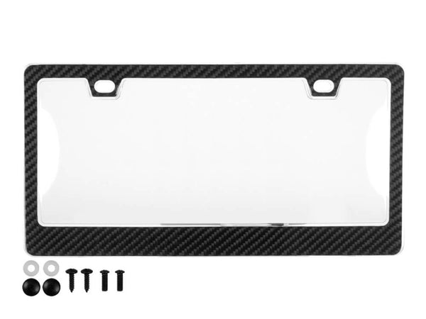 Carbon Fiber License Plate Frame - 2 Holes with Clear Cover