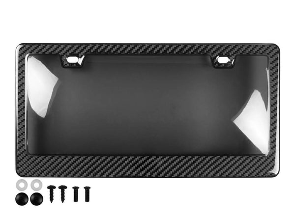 Real carbon fiber license plate frame with smoke cover and black mounting hardware