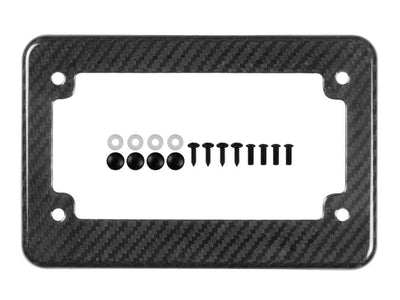 Real carbon fiber motorcycle license plate frame, glossy, twill weave, 4 holes, with black mounting hardware