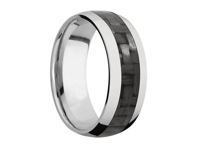 8mm Titanium Domed Ring With 4mm Real Carbon Fiber Inlay front