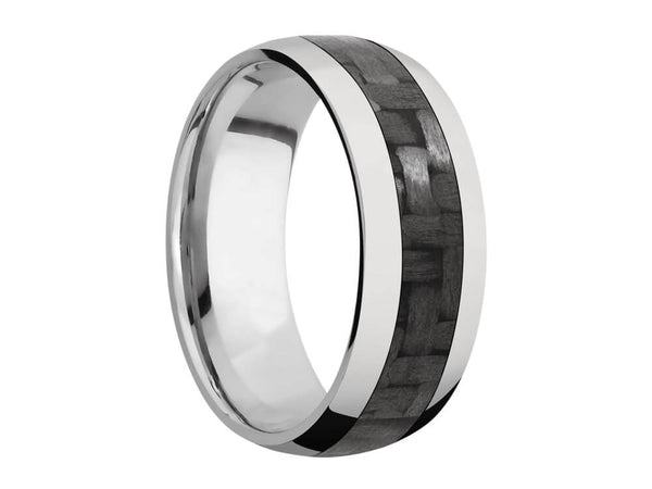 8mm Titanium Domed Ring With 4mm Real Carbon Fiber Inlay