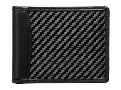 Carbon fiber and leather bi-fold wallet front