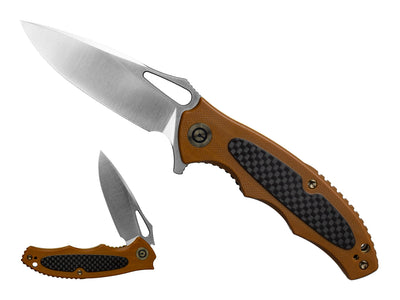 Civivi Shard Flipper Knife w/ Brown G10 and Carbon Fiber Handle - C806B