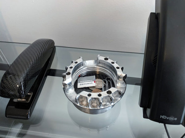 Used Formula 1 Wheel Nut Carbon Fiber Desk Organizer / Ashtray - On Desk