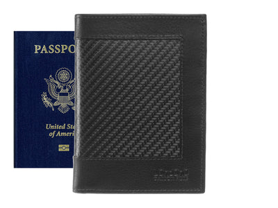 Londono carbon fiber and leather passport wallet, front