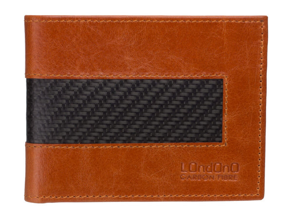 Londono carbon fiber and brown leather wallet, front