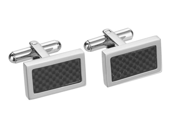 Michal Carbon Fiber Stainless Steel Square Cuff Links