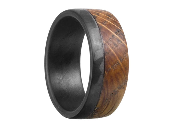 The Old Fashioned Carbon Fiber & High West Whiskey Barrel Ring by Element Ring Co.