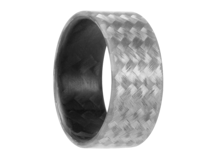 Silverback Carbon Fiber & Silver Fiberglass Ring by Element Ring Co.