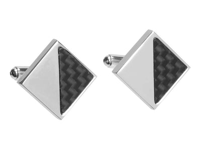 Carbon fiber cufflinks with square design and triangle carbon fiber inlay
