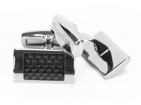 Titanium and Carbon Fiber Rectangle Cufflinks