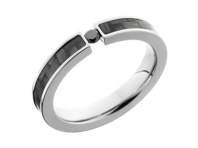 Carbon Fiber Ring and Wedding Band - 4mm Titanium Ring With Carbon Fiber Inlay and Tension Set Black Diamond