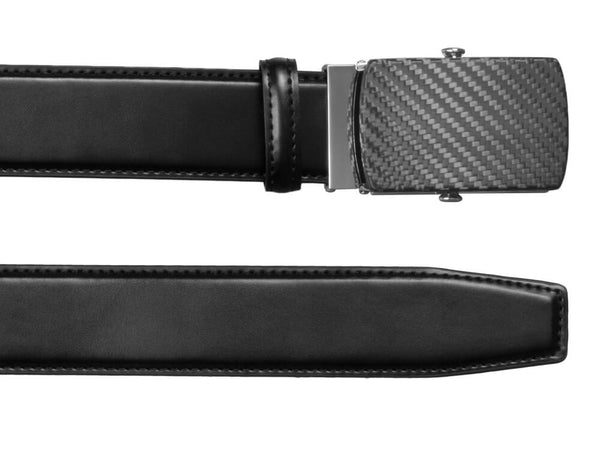 Carbon Touch Black Leather Belt with Carbon Fiber Buckle - Rounded, up close on both ends