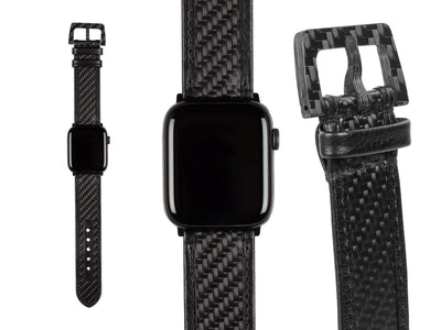 CarboBand real carbon fiber and leather Apple Watch band