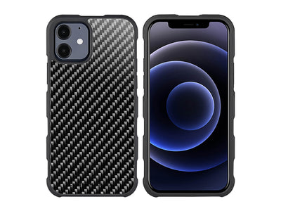 CarboFend real carbon fiber iPhone 12 case, front/back with phone