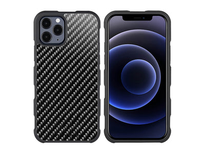 CarboFend real carbon fiber iPhone 12 Pro case, front/back with phone