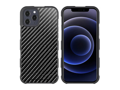CarboFend real carbon fiber iPhone 12 Pro Max case, front/back with phone