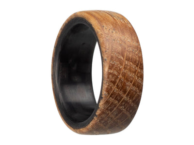 Distiller Carbon Fiber & Reclaimed Whiskey Barrel Ring by Element Ring Co.