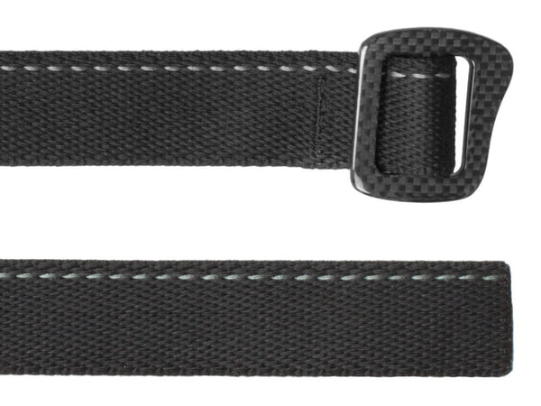 Bison Designs Carbonator Carbon Fiber Webbing Belt up close on both ends