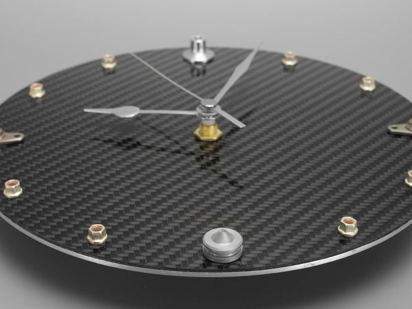Carbon Fiber Clock with Fittings from Formula 1 Cars