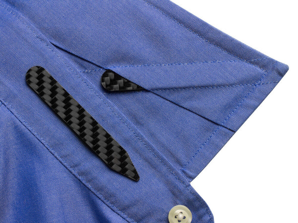 Carbon fiber collar stays installed in dress shirt