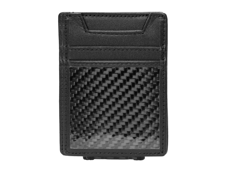 Carbon Fiber & Leather Money Clip Wallet, front